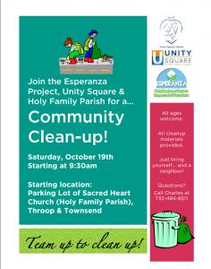 Community Clean-up! / ¡Limpieza Comunitaria! @ Sacred Heart Church Parking Lot